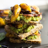 Avocado Toast with Bacon and Grilled Peaches