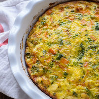 Cheesy Chicken Pepper Broccoli Frittata