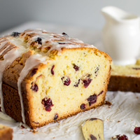 Cranberry Bread with White Chocolate Glaze
