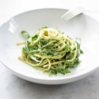 Creamy Avocado Linguine with Meyer Lemon and Arugula