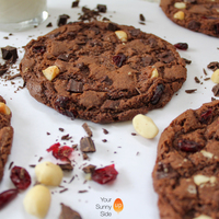 Chocolate Chip, Dried Cranberry & Macadamia Nut Chocolate Cookies