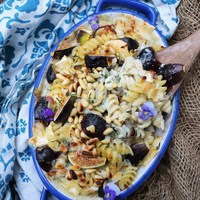 Fig Brie Blue Cheese Pasta Bake