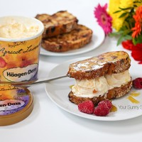 French Toast with Haagen-Dazs Apricot Lavender Ice Cream