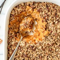 Vanilla Bean Healthy Sweet Potato Casserole with Crunchy Pecan Oat Topping