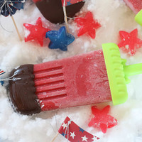 July 4th Chocolate Covered Strawberry Popsicles