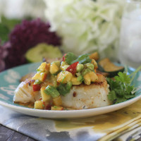Spicy Cod with Peach Nectarine Salsa