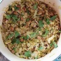 Bacon & Sausage Braised Cabbage