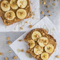Peanut Butter Banana Toast with Granola and Honey {This is My Real Life}