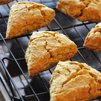 Pumpkin Scones with Maple and Molasses Glaze