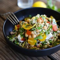 Zesty Quinoa Salad with Chicken, Chickpeas, Tomatoes and Mint