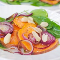 Sweet Potato and Red Onion Salad with Baby Spinach and Peanuts