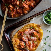 Roast Spaghetti Squash with Sausage (or Meat) Tomato Sauce