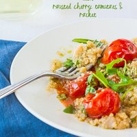 Quinoa risotto (quinotto) with roasted cherry tomatoes