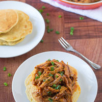 Slow Cooker Honey Pulled Pork with Cornmeal Pancakes