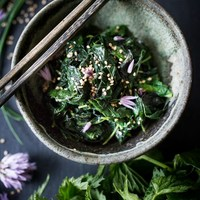 Steamed Nettles with Toasted Sesame Seeds and Chive Blossoms