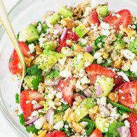 Strawberry Farro Salad with Avocado and Feta