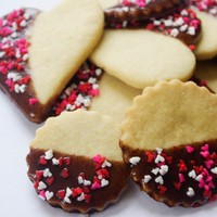 Half Chocolate Coated Sugar Cookies with Heart Sprinkles