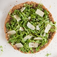 Pesto Pizza with Fresh Arugula and Parmesan