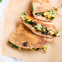 Breakfast Quesadillas with Spinach and Black Beans