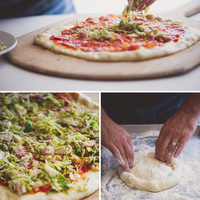 Brussels Sprouts and Bacon Parmesan Pizza