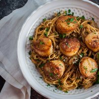Chipotle Lemon Tarragon Scallops with Angel Hair Pasta