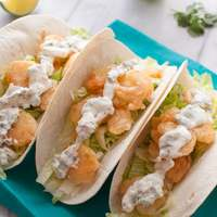 Beer Battered Shrimp Tacos with Cilantro Lime Cream