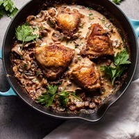Crispy Chicken with Pancetta, Mushrooms, and Bourbon