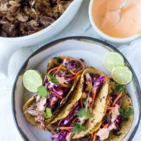 Five Spice Pork Tacos (or Pulled Beef) with Asian Slaw and Sriracha Aioli