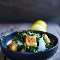 Kale Caesar Salad with Millet Croutons