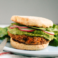 Lentil-Chickpea Veggie Burgers with Avocado Green Harissa