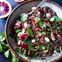 Moroccan Quinoa with Blood Oranges, Olives, Almond and Mint