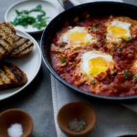 """Shakshouka"": Poached Eggs in Tomato Sauce, On Toast {make this now}"