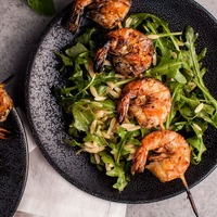 Grilled Shrimp, Orzo, and Arugula Salad