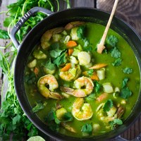 Peruvian Seafood Stew with Cilantro Broth