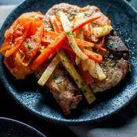 Pork Chops with Carrots and Celeriac