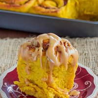 Pumpkin Sweet Rolls with Cranberries, Pecans and Caramel Cream Cheese Icing