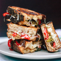 Balsamic Roasted Broccoli and Red Pepper Grilled Cheese