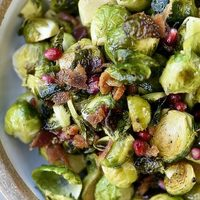 Roasted Brussels Sprouts with Pomegranate and Bacon Recipe