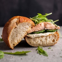 Easy Baked Salmon Sandwich with Zesty Lemon Mayo and Arugula