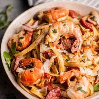 Creamy Shrimp and Chorizo Pasta with Mushrooms