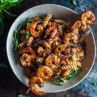 Spicy Pasta with Grilled Shrimp