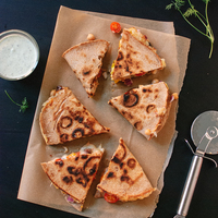Tomato, Olive and Chickpea Quesadillas with Dill Yogurt Dip