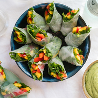 Tropical Mango Spring Rolls with Avocado-Cilantro Dipping Sauce