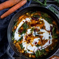 Chickpea Carrot & Top Stew with Quick Harissa