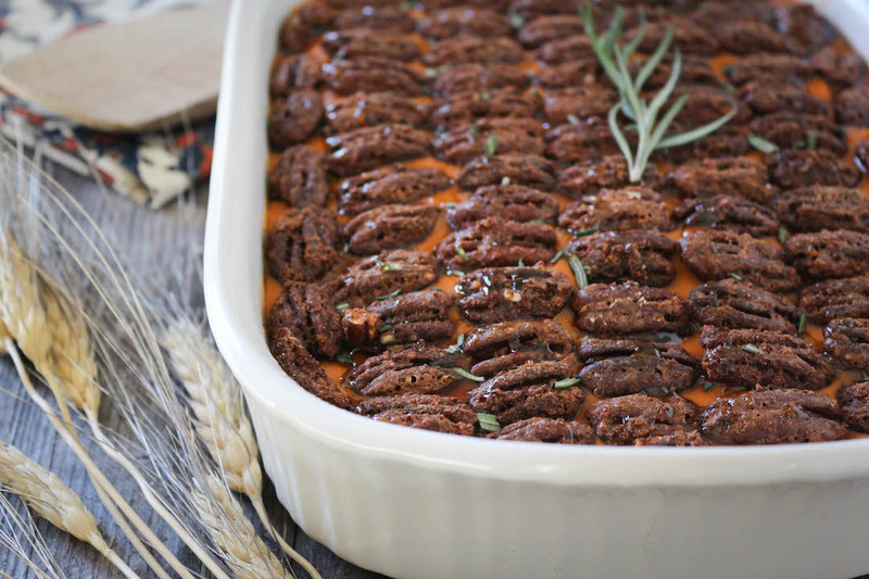 Thanksgiving Maple Rosemary Whipped Yams Topped with Cinnamon Candied Pecans