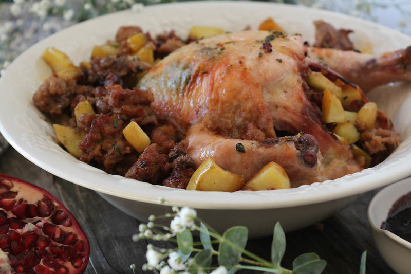 Thanksgiving Sweet Potato & Apple Stuffed Cornish Hens with Pomegranate Glaze