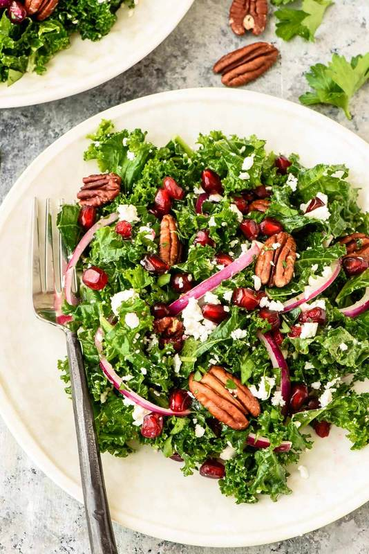 Winter Salad with Kale and Pomegranate