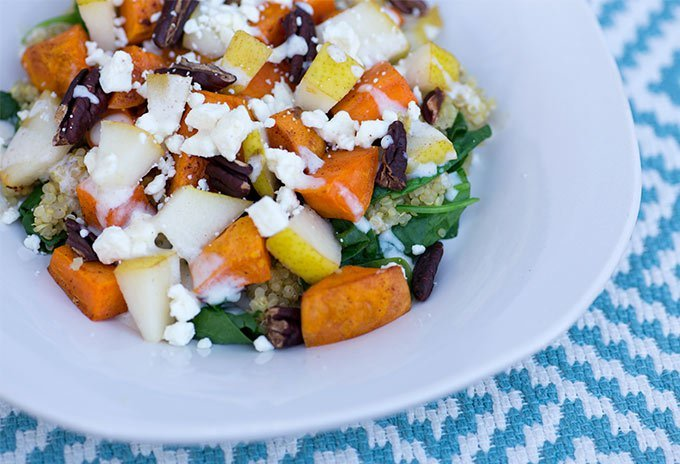 "Quinoa Sweet Potato Salad with ""Fall Sauce"""