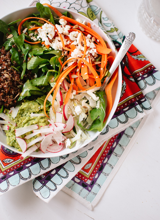 Spring Carrot, Radish and Quinoa Salad with Herbed Avocado