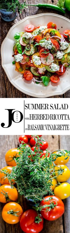Summer Salad with Herbed Ricotta and Balsamic Vinaigrette